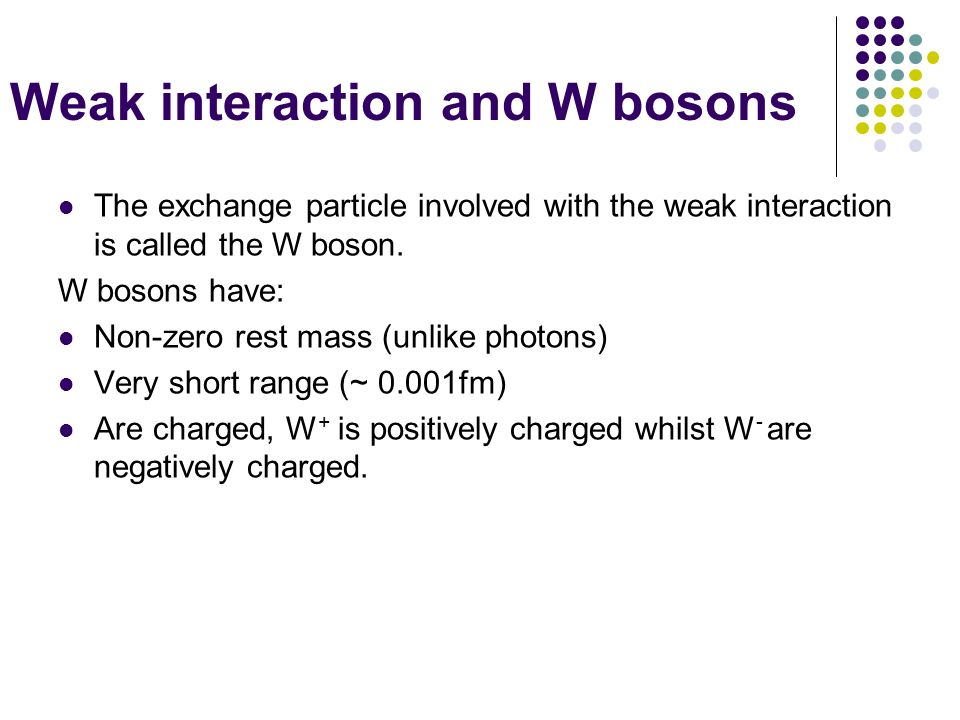 Weak interaction and W bosons