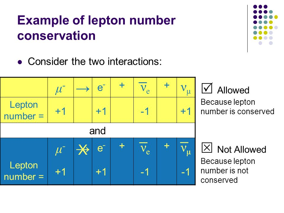 Example of lepton number conservation