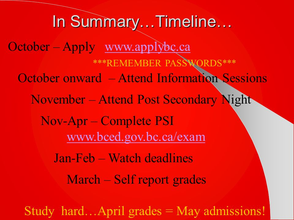 In Summary…Timeline… October – Apply www.applybc.ca