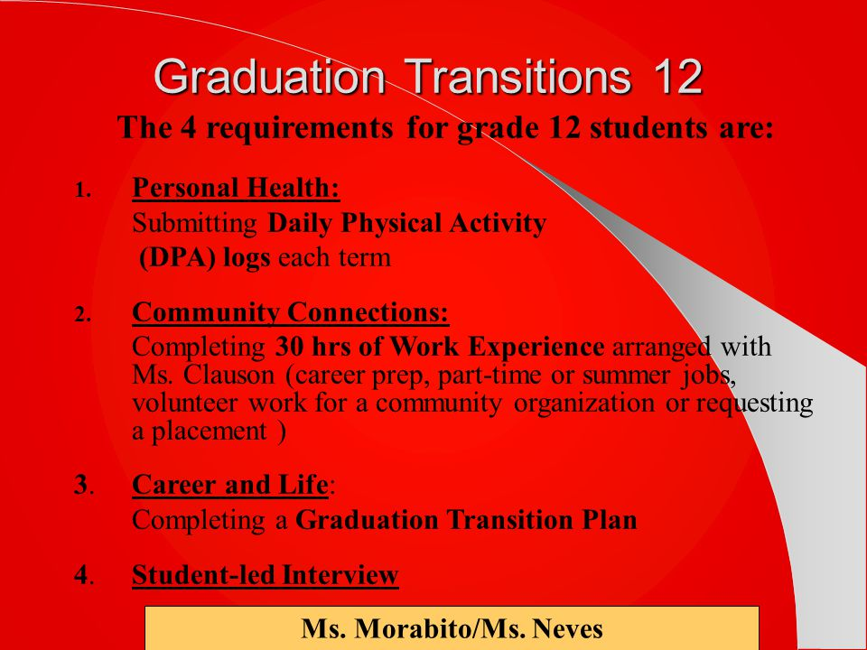 The 4 requirements for grade 12 students are: