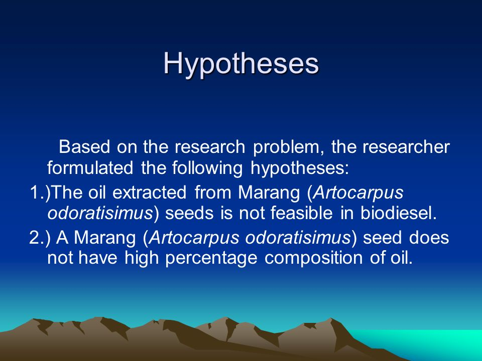 Hypotheses Based on the research problem, the researcher formulated the following hypotheses: