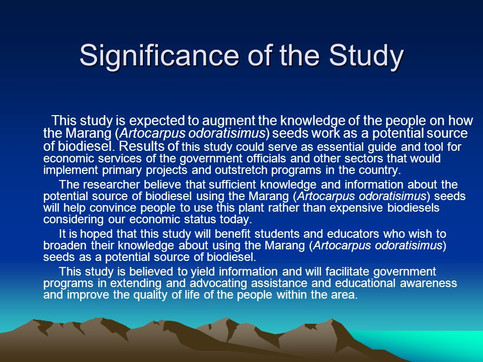 significance of the study in research