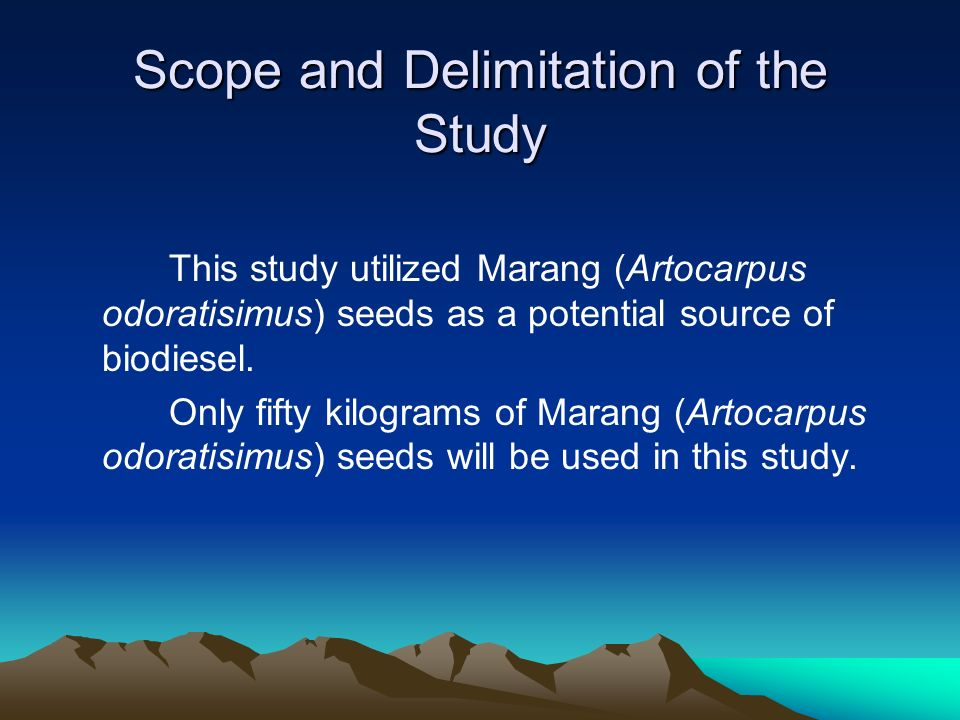 Scope and Delimitation of the Study