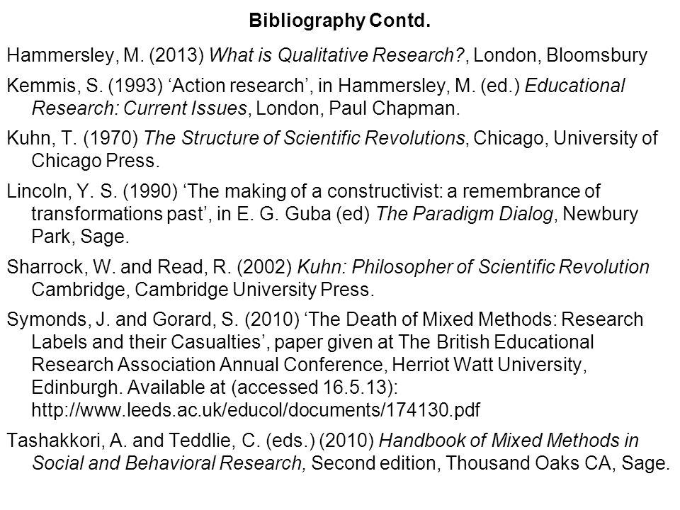 Bibliography Contd. Hammersley, M. (2013) What is Qualitative Research , London, Bloomsbury.