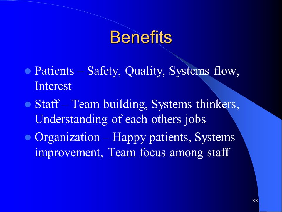 Benefits Patients – Safety, Quality, Systems flow, Interest