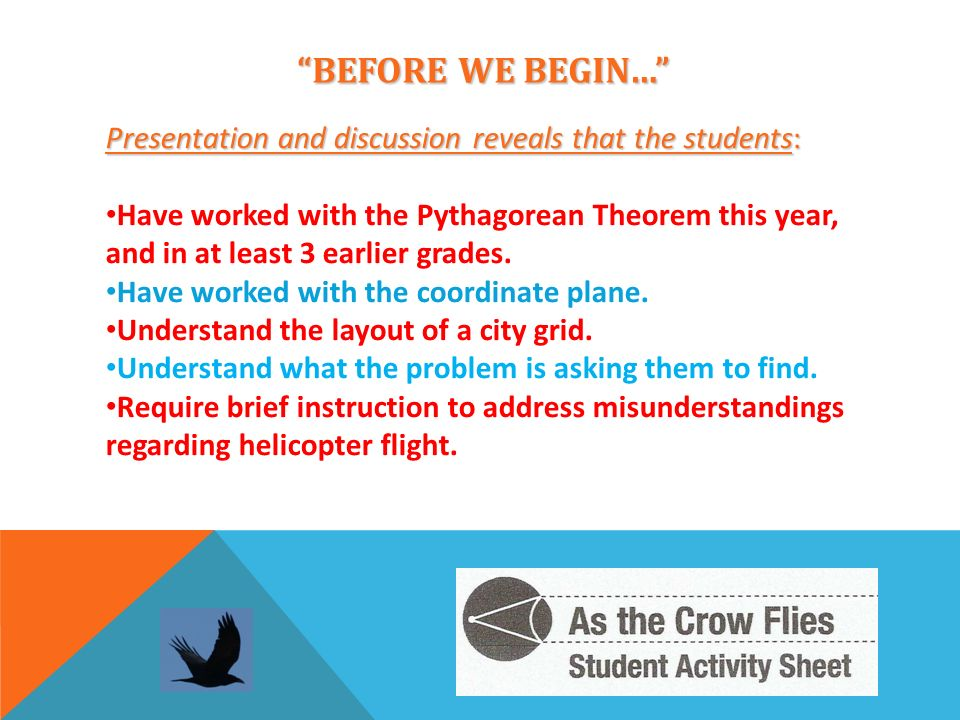 BEFORE WE BEGIN… Presentation and discussion reveals that the students: