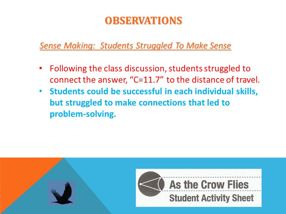 OBSERVATIONS Sense Making: Students Struggled To Make Sense