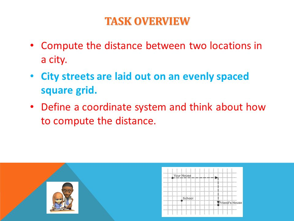 TASK OVERVIEWCompute the distance between two locations in a city. City streets are laid out on an evenly spaced square grid.