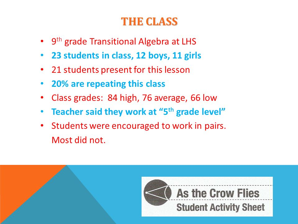 THE CLASS 9th grade Transitional Algebra at LHS