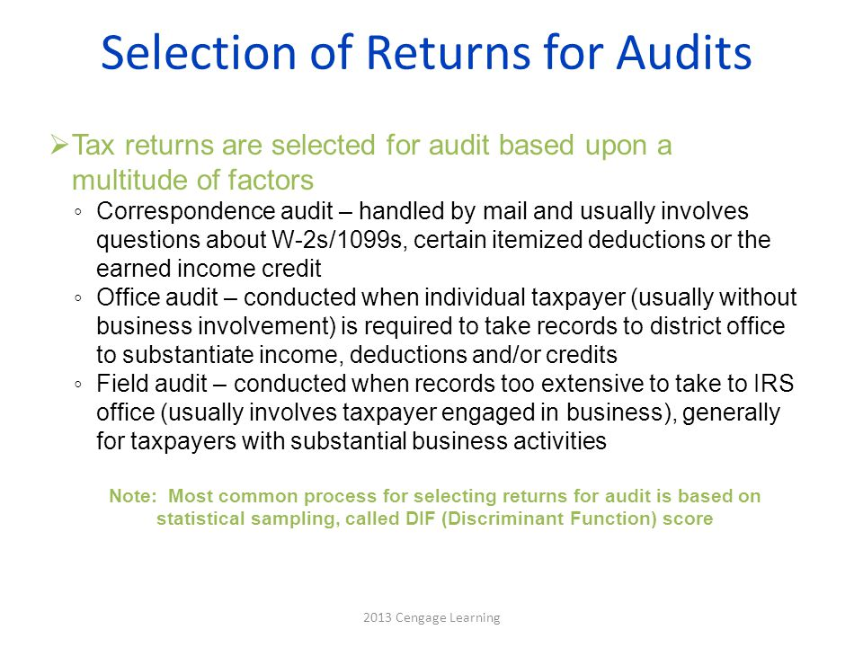 Selection of Returns for Audits