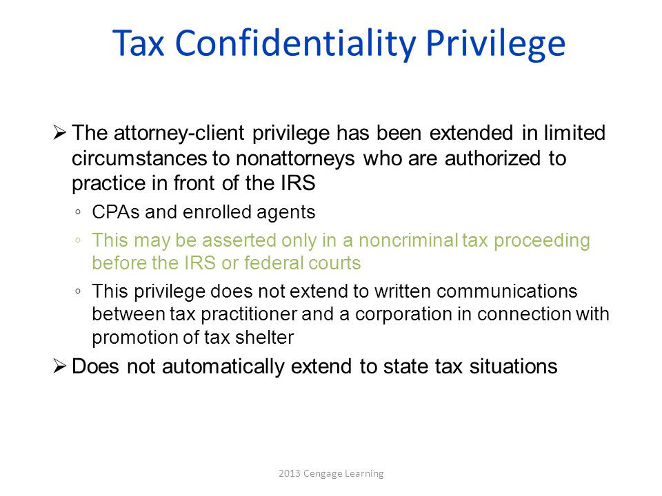 Tax Confidentiality Privilege
