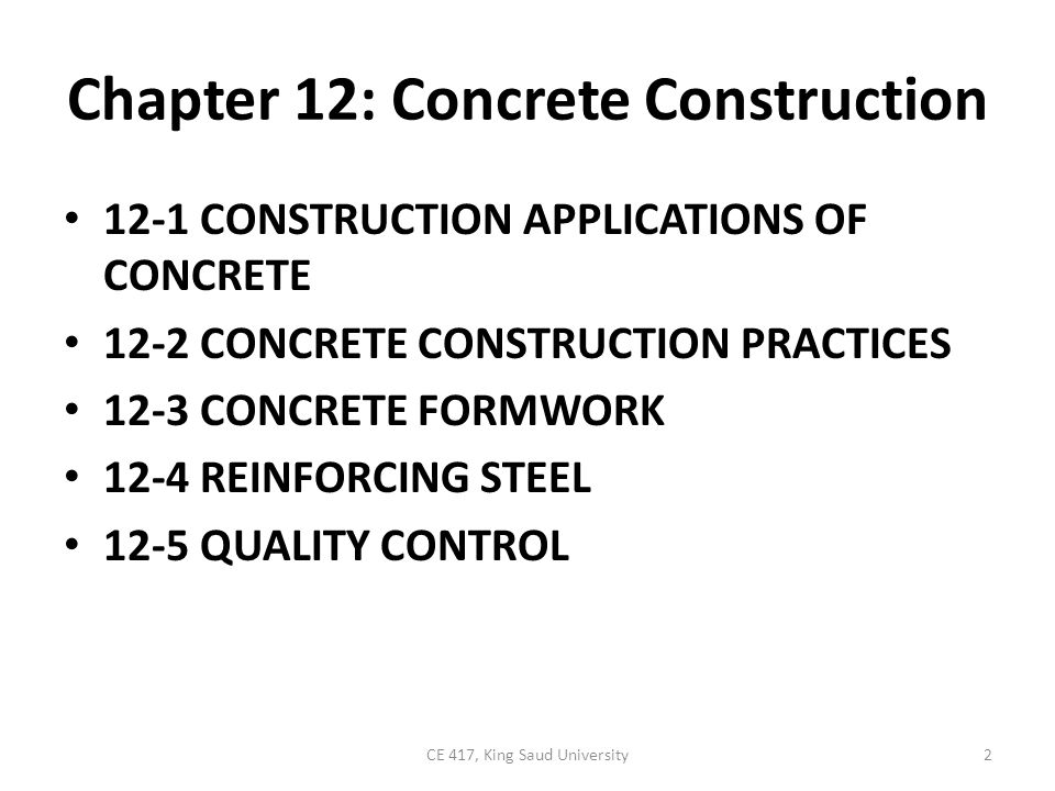 Chapter 12: Concrete Construction
