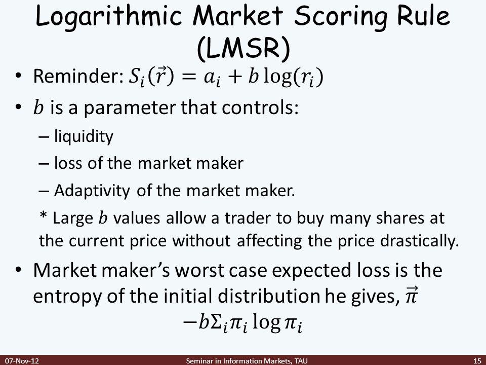 Logarithmic Market Scoring Rule (LMSR)