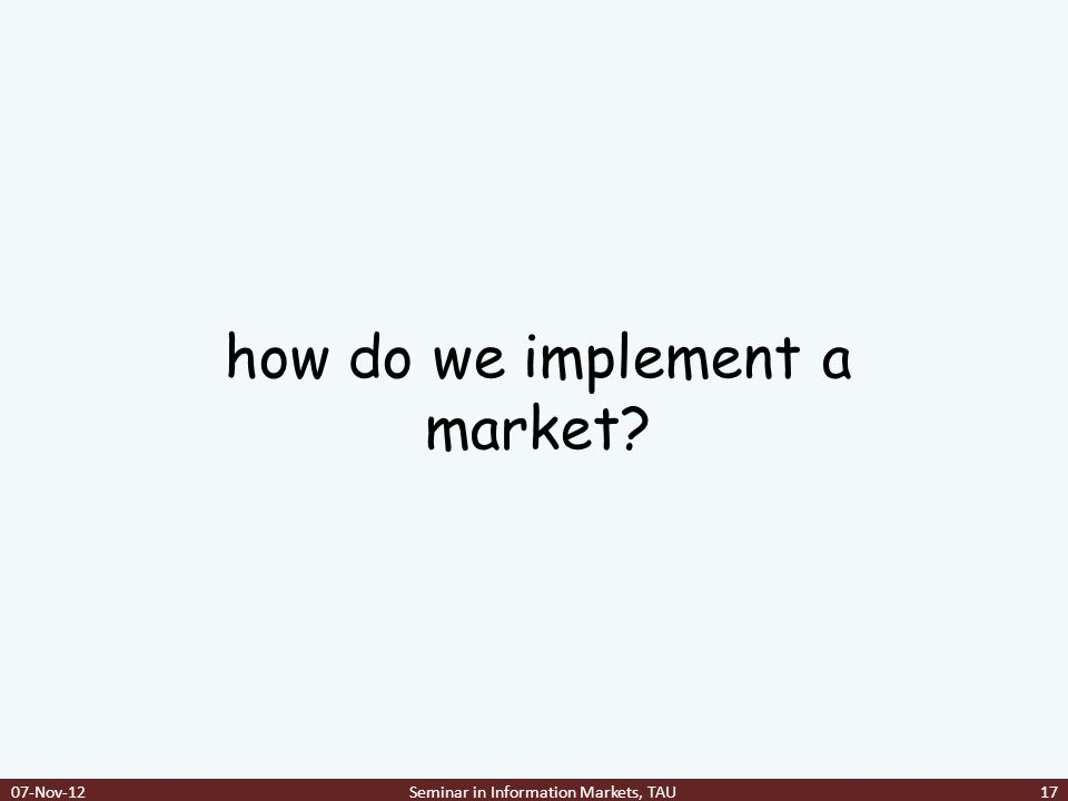 how do we implement a market