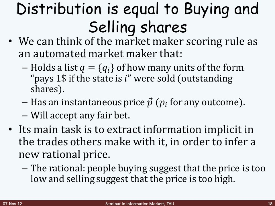 Distribution is equal to Buying and Selling shares