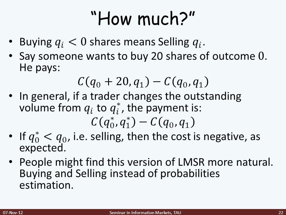 Seminar in Information Markets, TAU