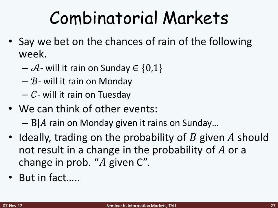 Combinatorial Markets