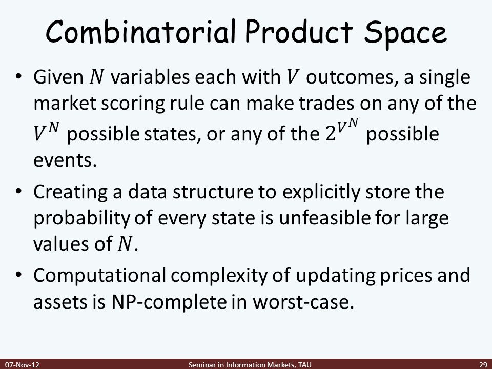 Combinatorial Product Space