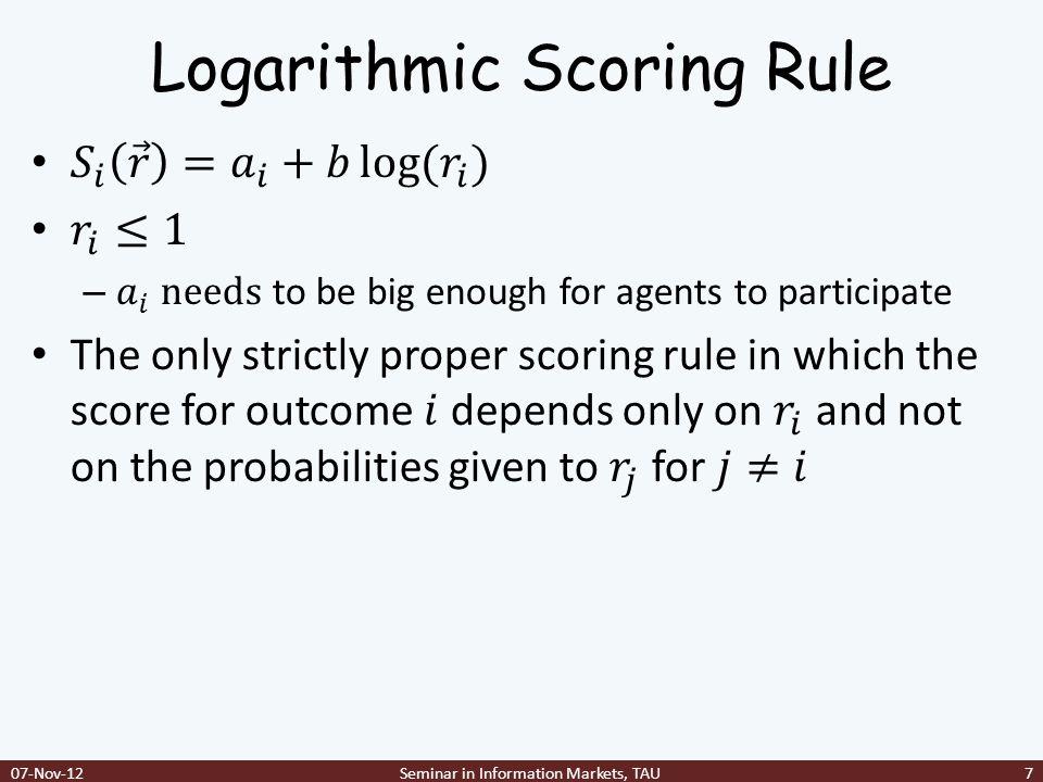 Logarithmic Scoring Rule