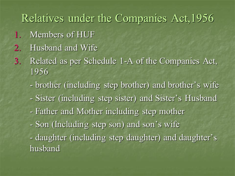 Relatives under the Companies Act,1956