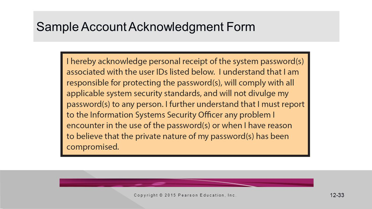 Sample Account Acknowledgment Form