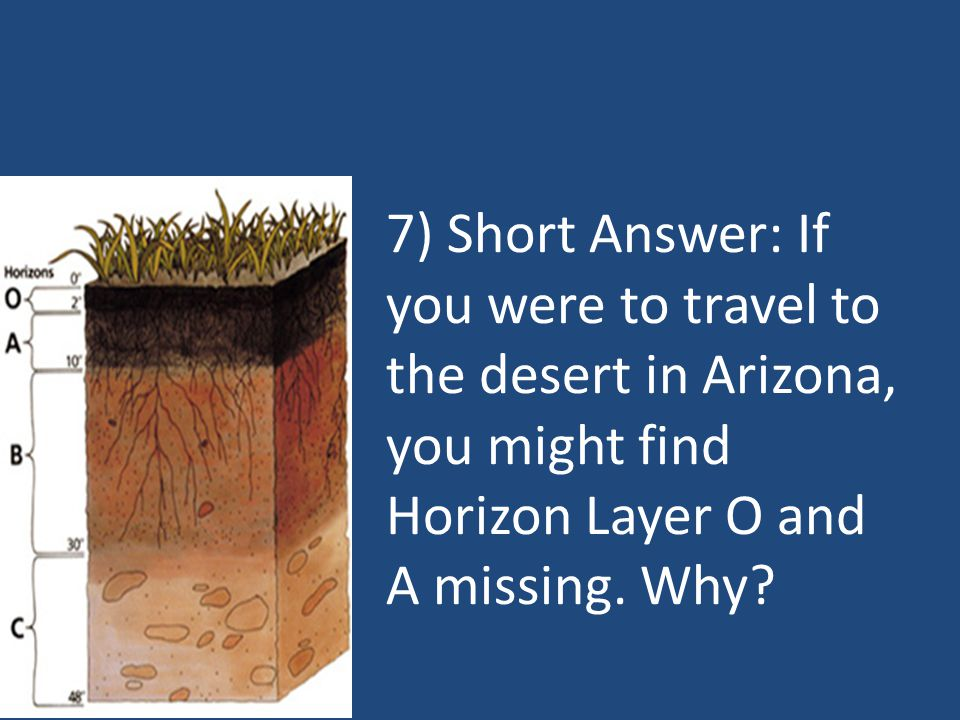 7) Short Answer: If you were to travel to the desert in Arizona, you might find Horizon Layer O and A missing.