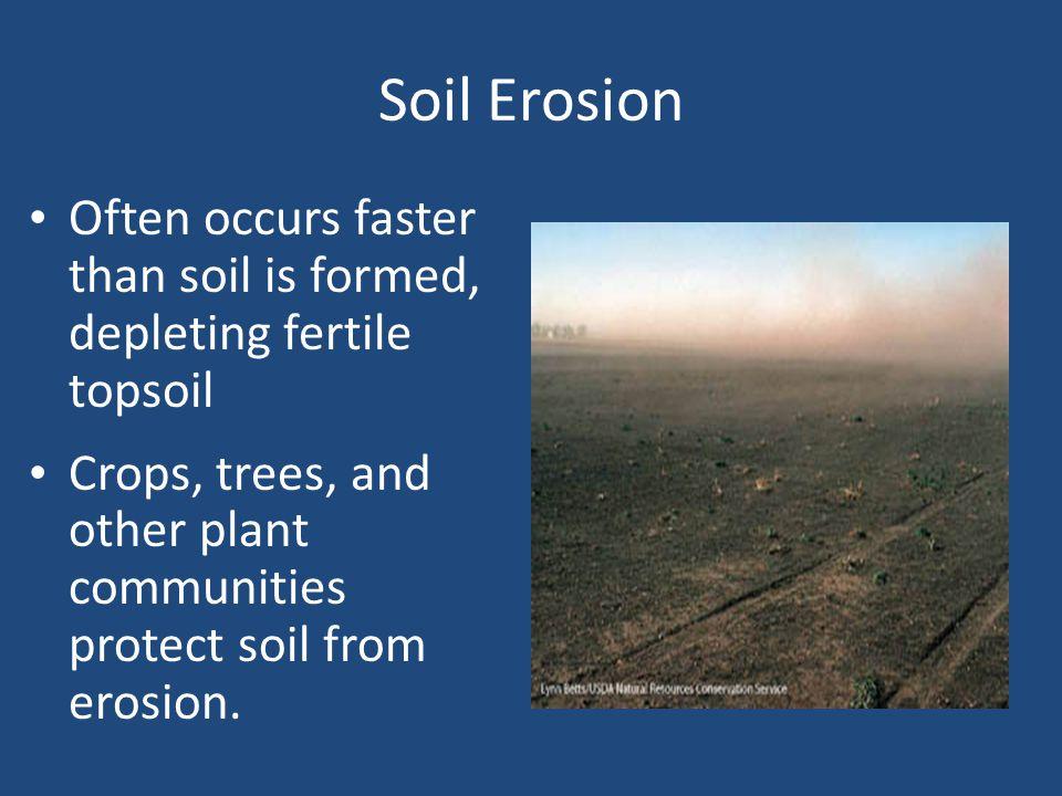 Soil Erosion Often occurs faster than soil is formed, depleting fertile topsoil.
