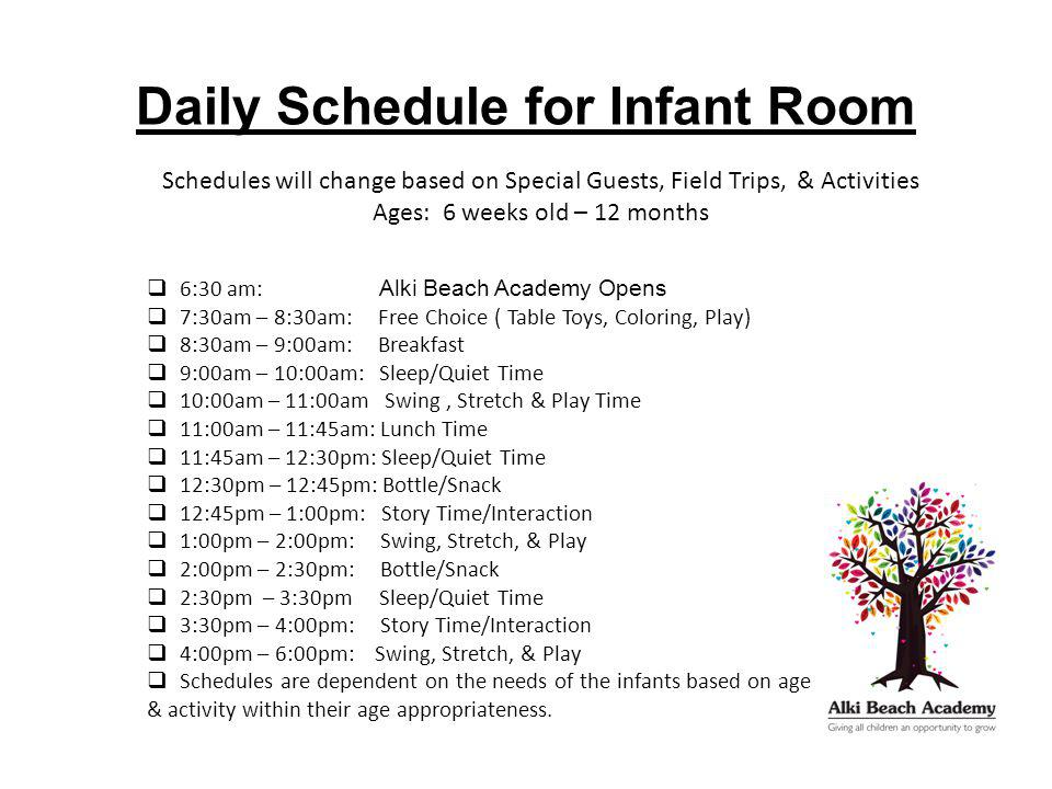 Daily Schedule for Infant Room