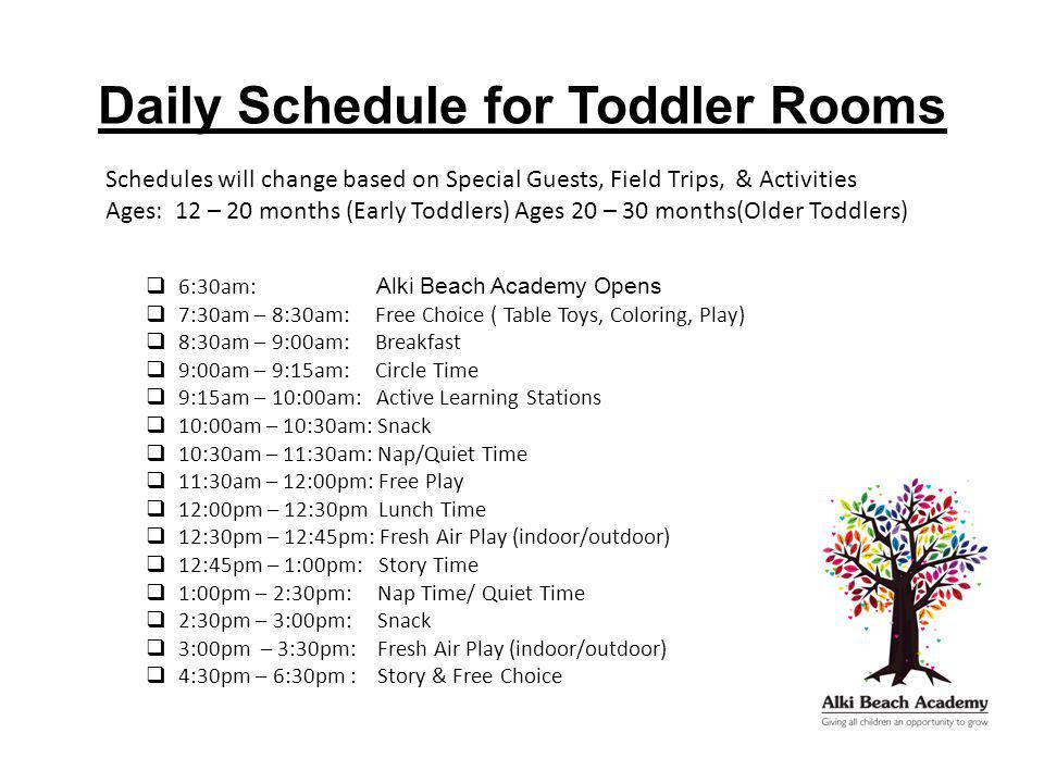 Daily Schedule for Toddler Rooms