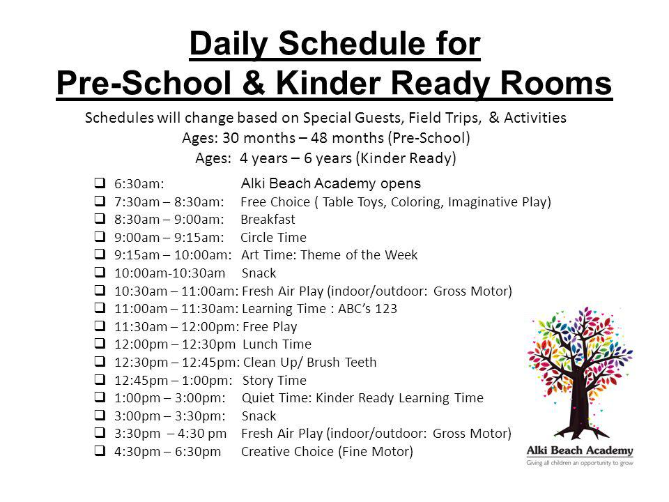 Daily Schedule for Pre-School & Kinder Ready Rooms