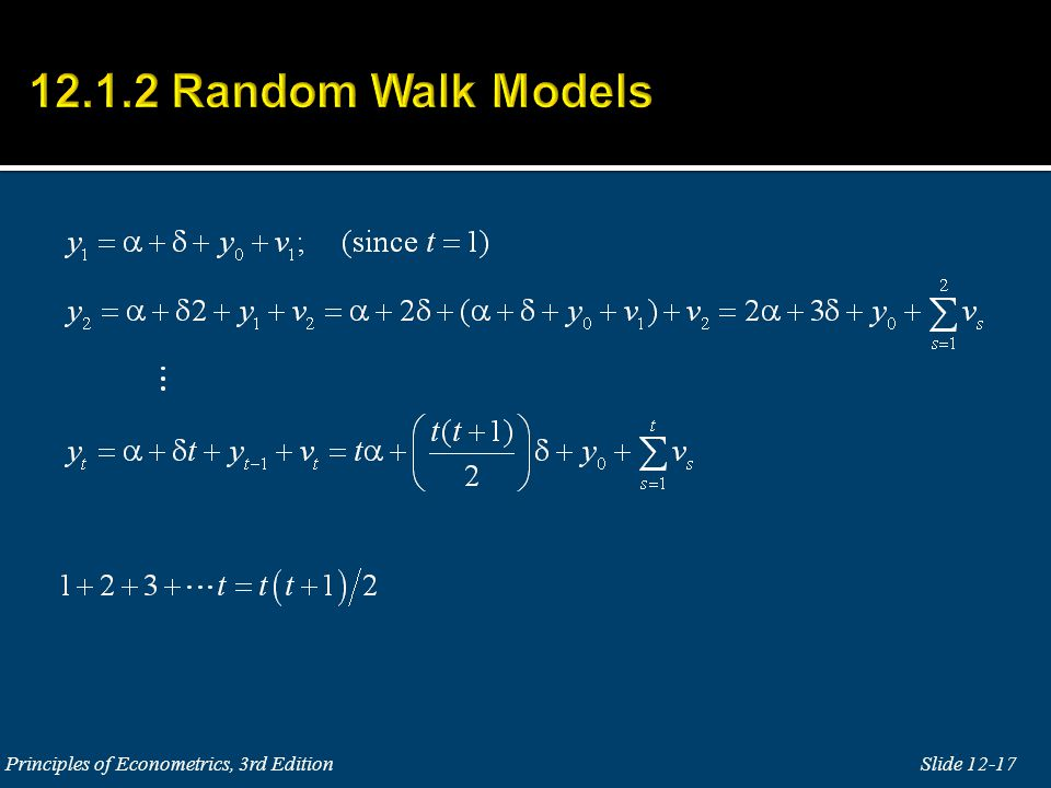 12.1.2 Random Walk Models Principles of Econometrics, 3rd Edition