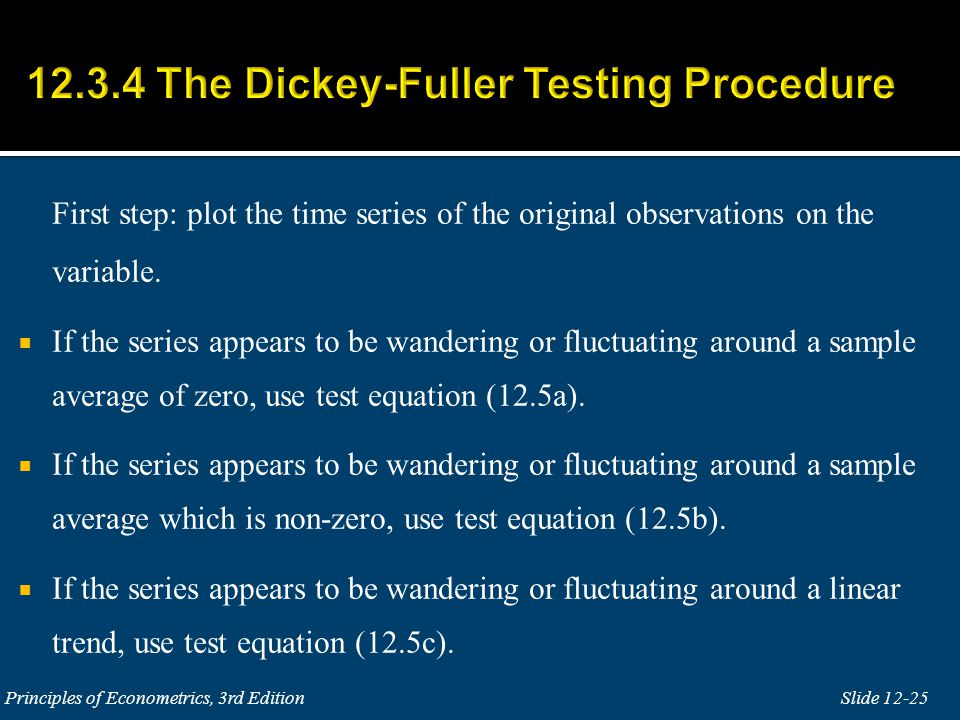 12.3.4 The Dickey-Fuller Testing Procedure