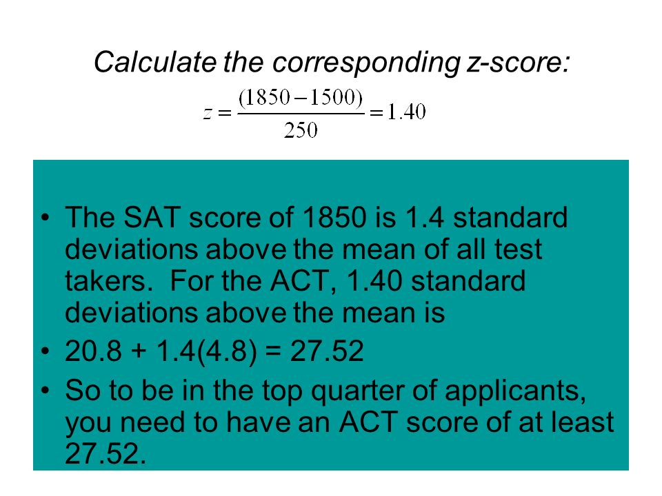 Calculate the corresponding z-score: