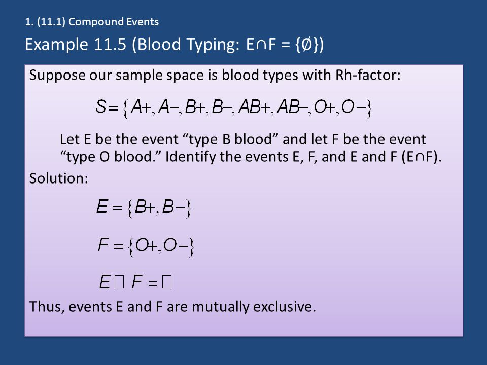 Example 11.5 (Blood Typing: E∩F = {∅})