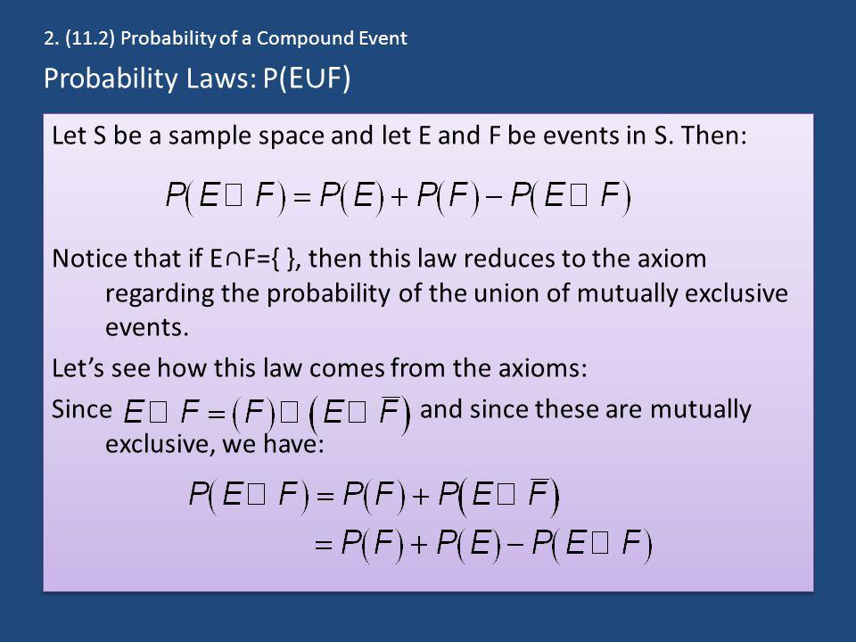 Probability Laws: P(E∪F)
