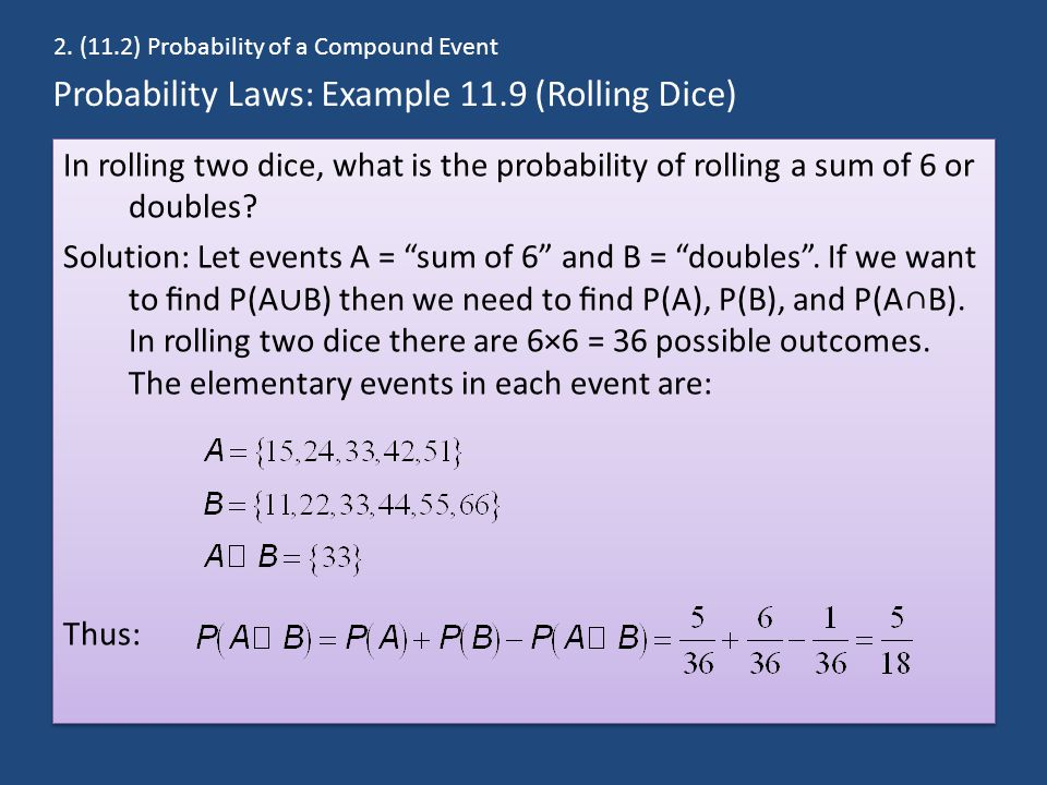 Probability Laws: Example 11.9 (Rolling Dice)