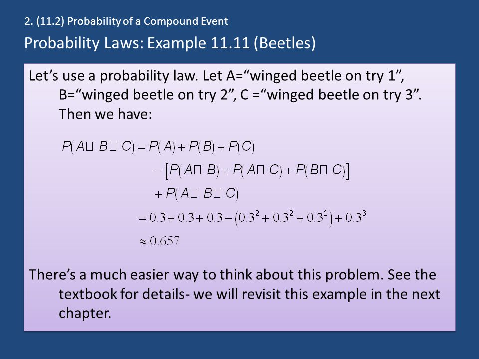 Probability Laws: Example 11.11 (Beetles)