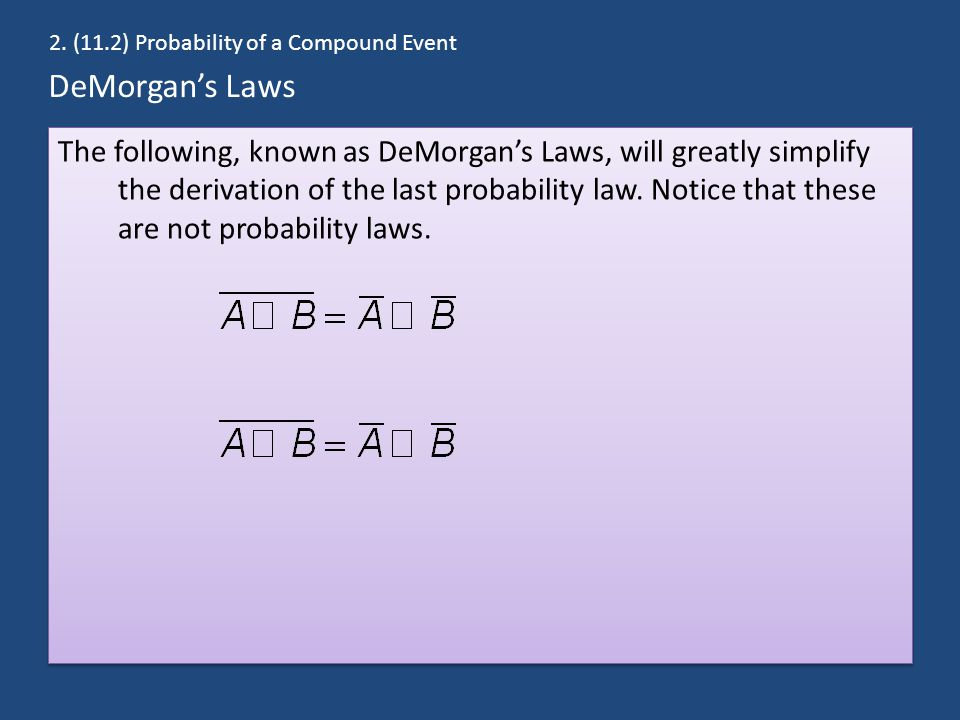 2. (11.2) Probability of a Compound Event