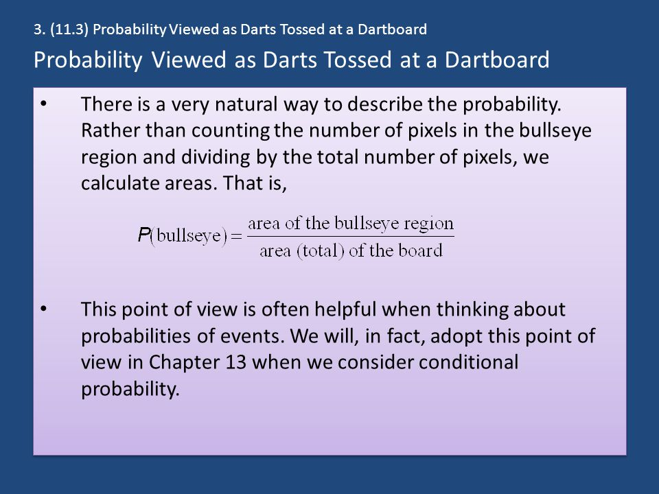 Probability Viewed as Darts Tossed at a Dartboard