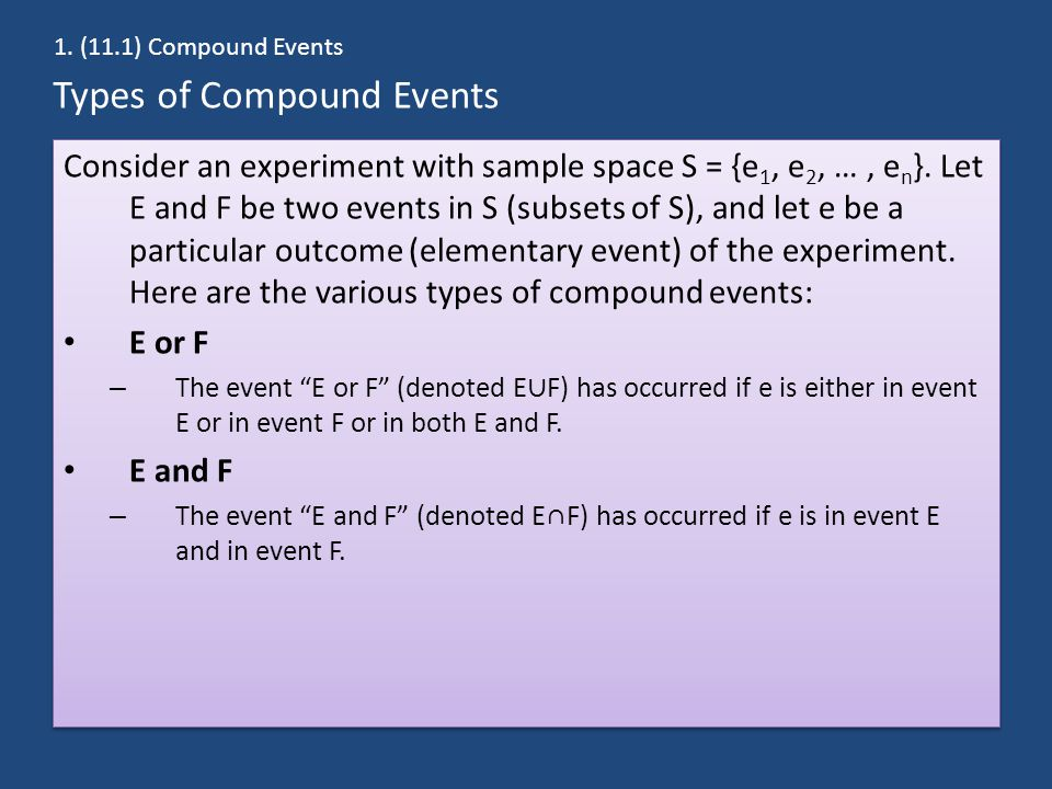 Types of Compound Events