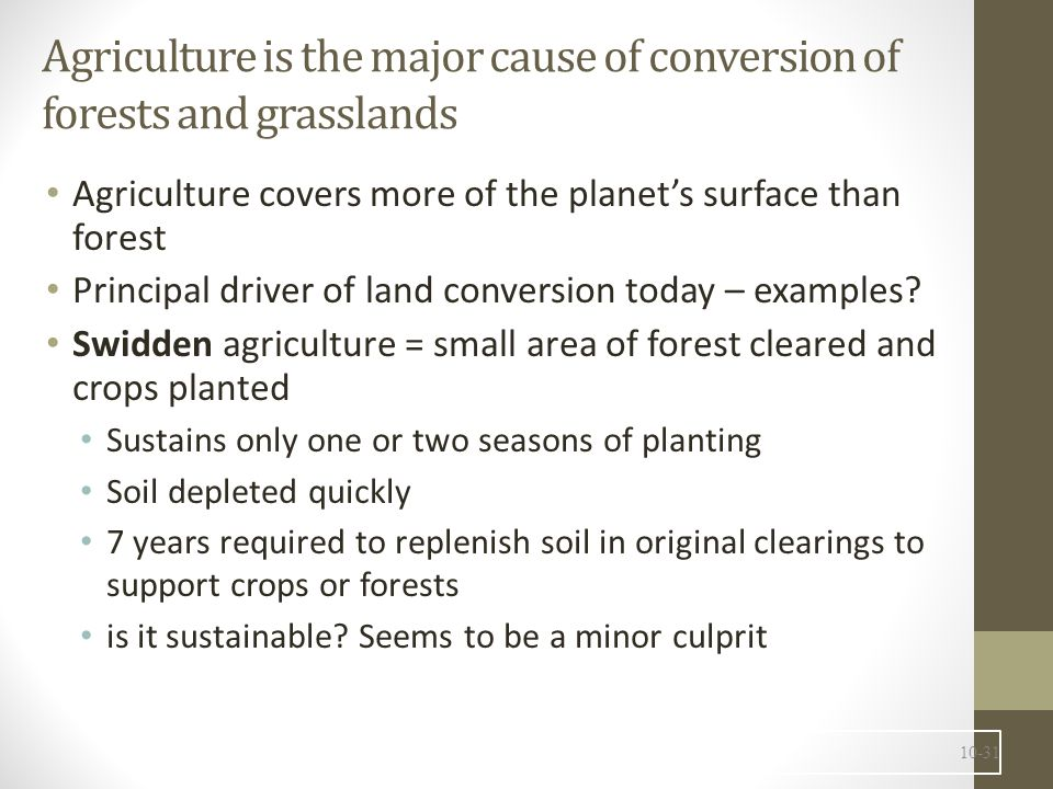 Agriculture is the major cause of conversion of forests and grasslands