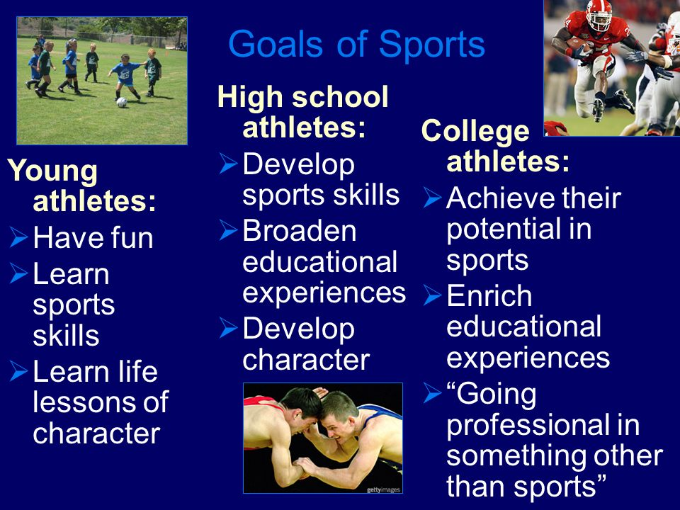 Goals of Sports High school athletes: Develop sports skills