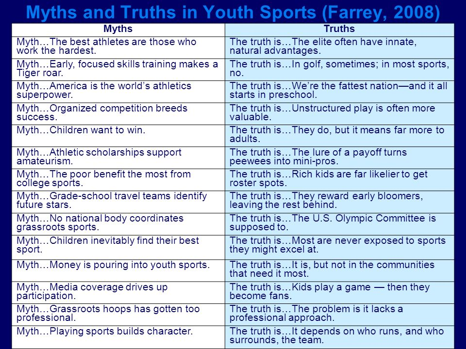 Myths and Truths in Youth Sports (Farrey, 2008)
