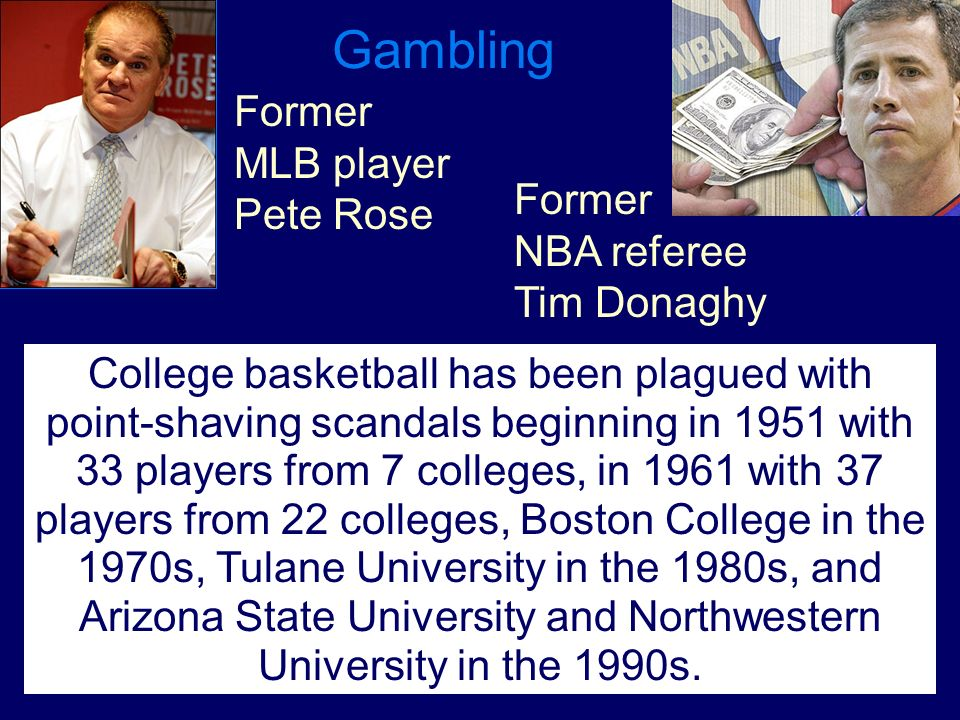 Gambling Former MLB player Pete Rose Former NBA referee Tim Donaghy