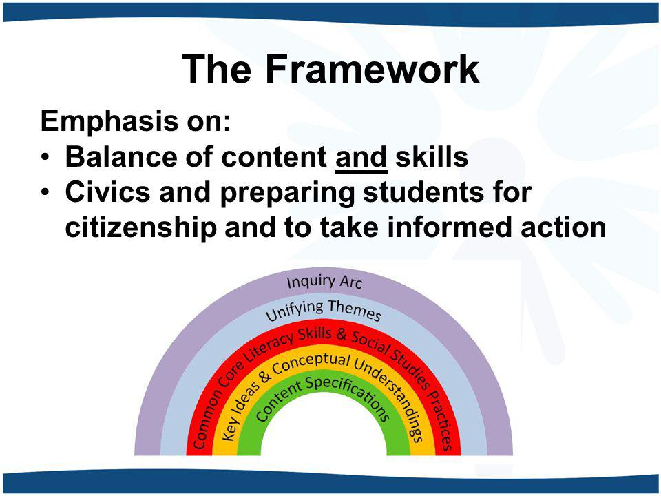 The Framework Emphasis on: Balance of content and skills