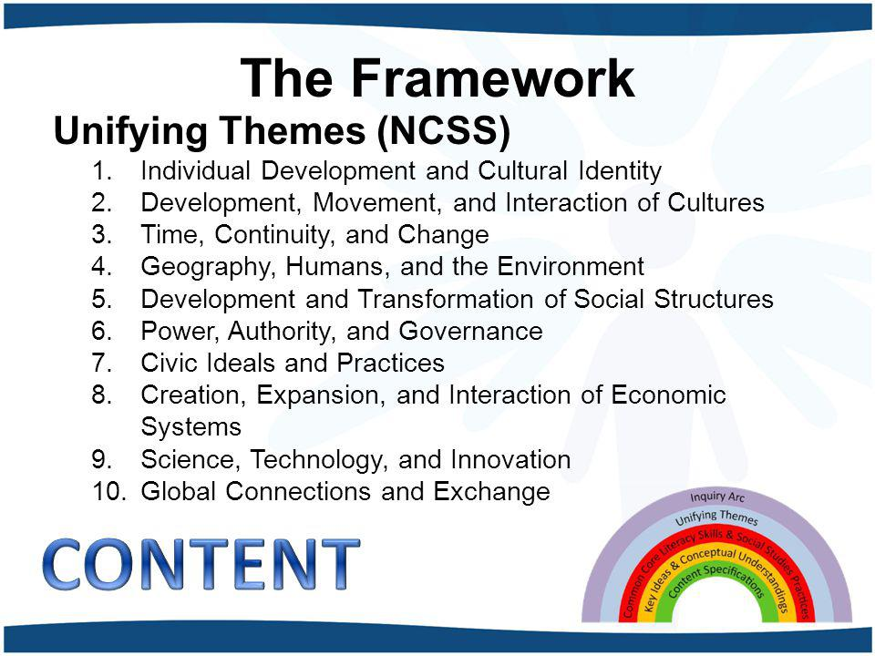 CONTENT The Framework Unifying Themes (NCSS)