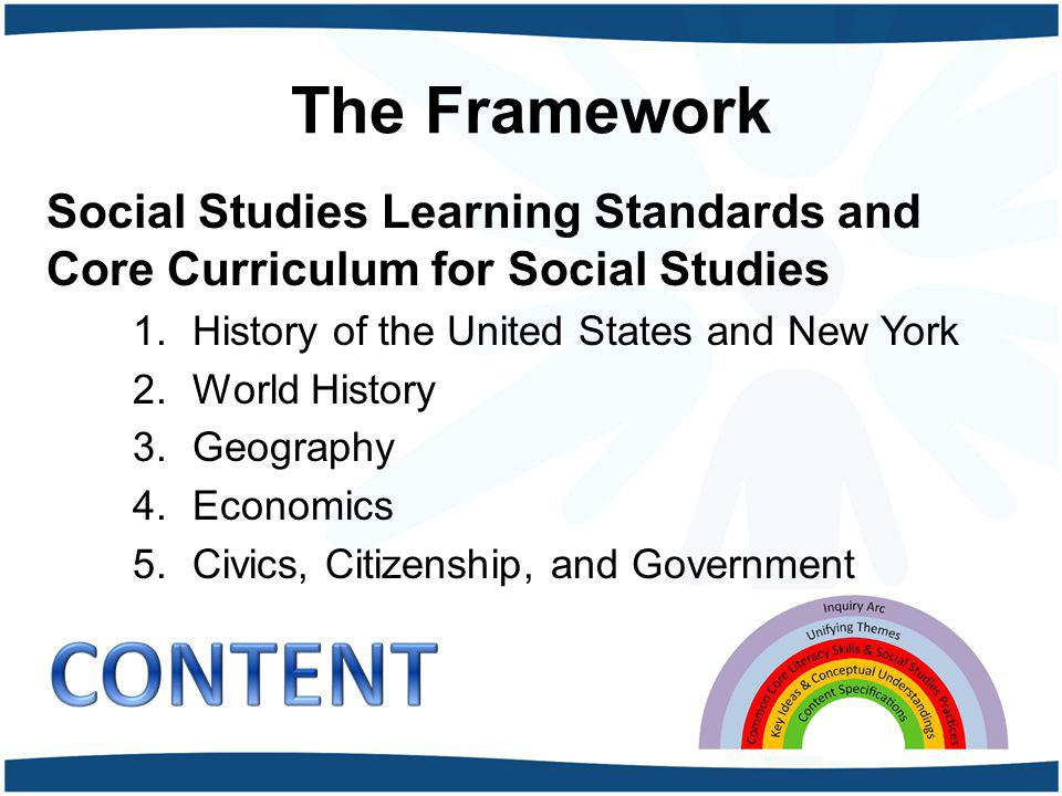 The Framework Social Studies Learning Standards and Core Curriculum for Social Studies. History of the United States and New York.