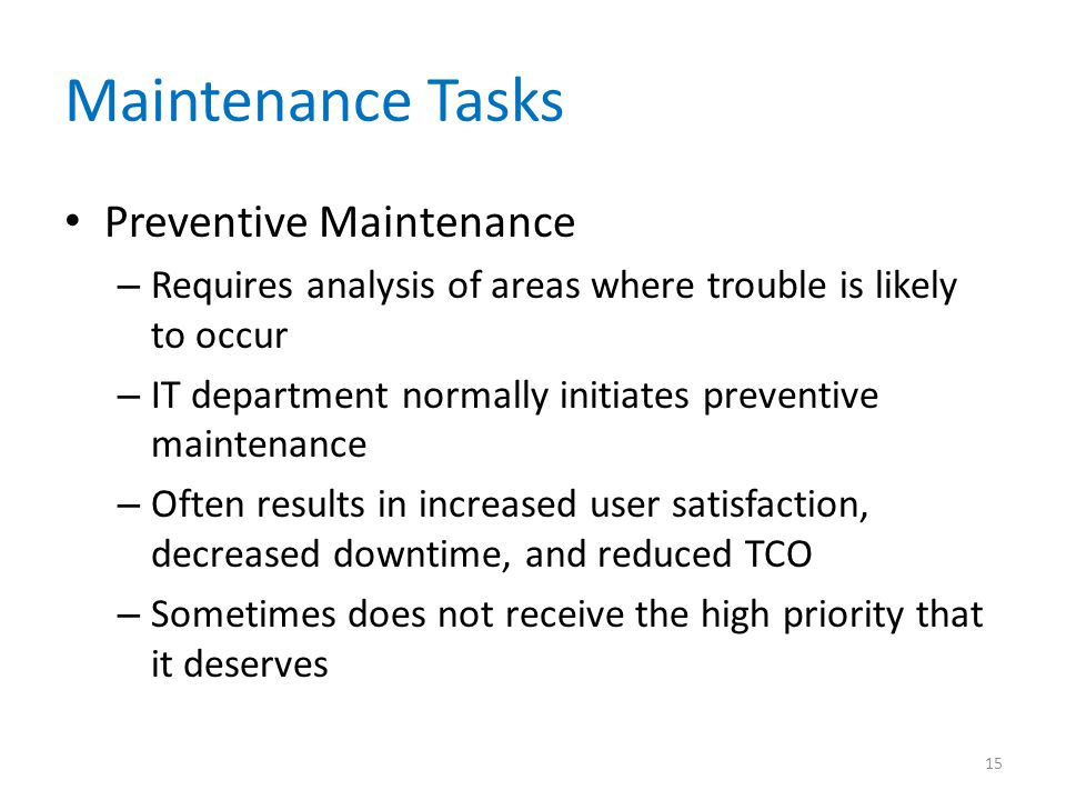 Maintenance Tasks Preventive Maintenance