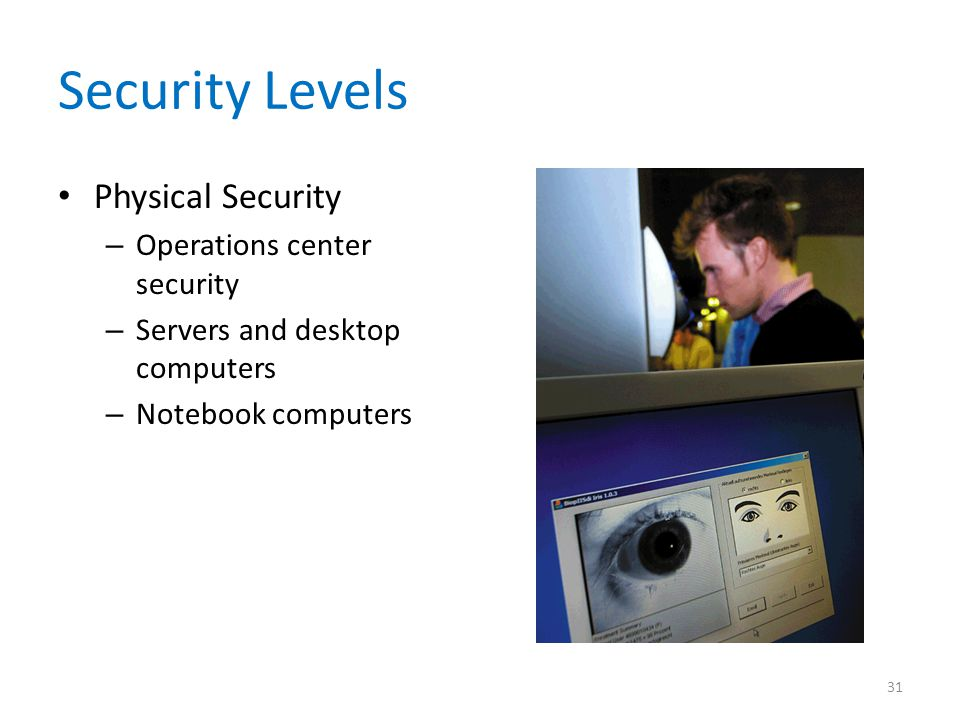 Security Levels Physical Security Operations center security