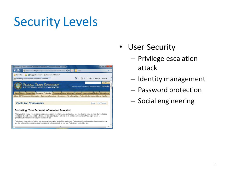 Security Levels User Security Privilege escalation attack